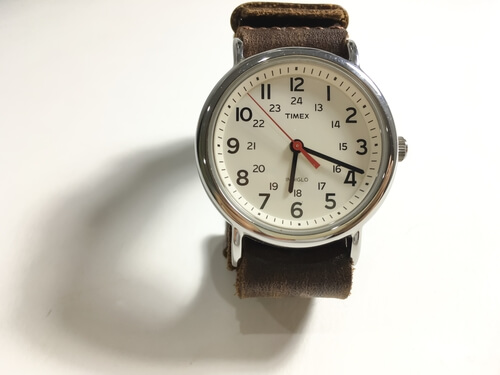TIMEX INDEGLO WEEKENDER WATCH with nato leather watch strap on white background