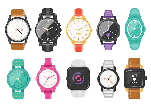 Classic men's and women's watches set of vector icons