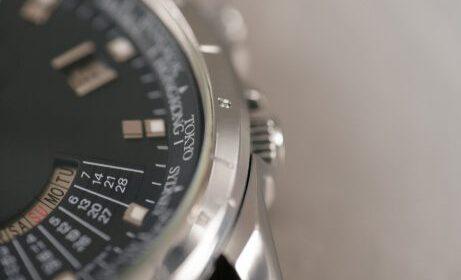Mens steel watch closeup