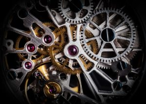 close-up of clockwork of a watch with jewels