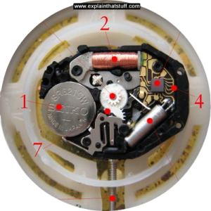 Parts of a quartz watch