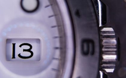 macro view of a watch dial with date window