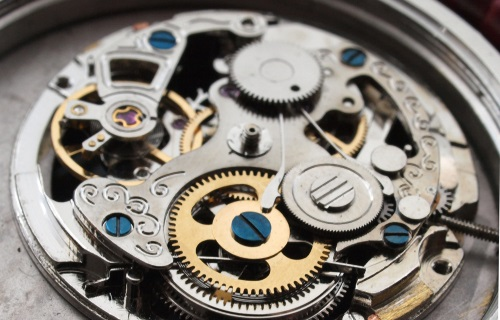 vintage mechanical watch machinery macro detail