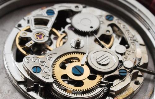 vintage mechanical watch machinery macro detail